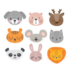 set of cute hand drawn smiling animals cat deer vector image vector image