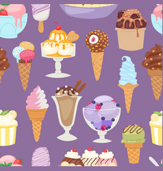 set of different ice cream seamless pattern vector image