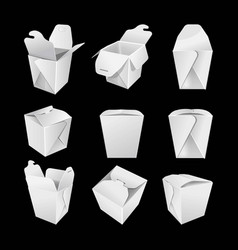 white empty paper boxes for chinese fastfood set vector image