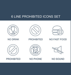 6 prohibited icons vector