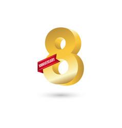 8 year anniversary template design vector