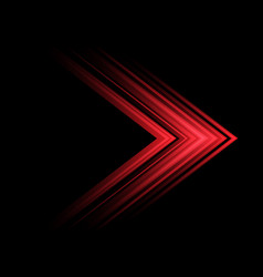 abstract red light arrow speed direction on black vector image