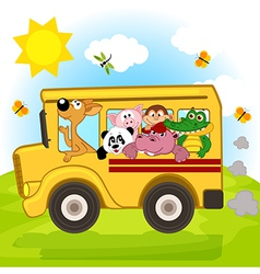 Animals on bus vector