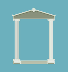 Antique marble temple front with ionic columns vector