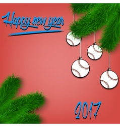 Baseball balls on Christmas tree branch vector
