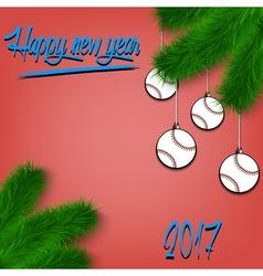 Baseball balls on christmas tree branch vector
