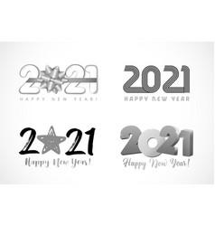 big set 2021 text design bow star line 3d vector image
