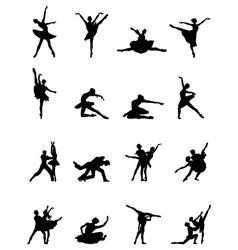 Black silhouettes of ballerinas vector