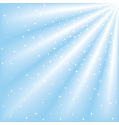 blue sky with ray lights and stars vector image