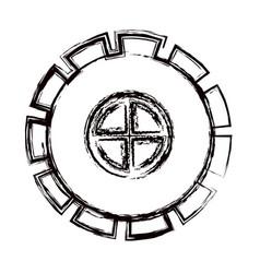 blurred thick contour gear wheel pinion icon vector image