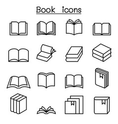 book icon set in thin line style vector image