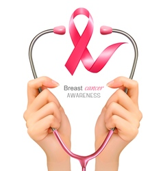 Breast cancer awareness hands holding a vector