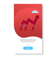 Business people carrying financial curved line vector
