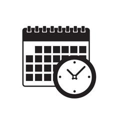 Calendar and clock icon vector