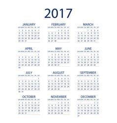 Calendar for 2017 on white background EPS10 vector image