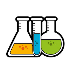 Chemical flasks icon vector