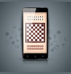 Chess digital gadget smartphone icons vector