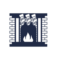 Christmas fireplace isolated icon vector
