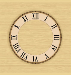 Clock face with roman numerals on beige vector