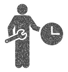 Clock Serviceman Grainy Texture Icon vector