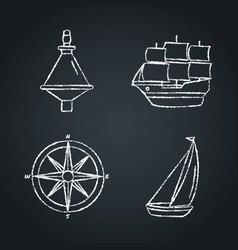 collection nautical icon sketches on chalkboard vector image