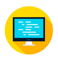 computer coding circle icon vector image