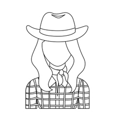 Cowgirl icon in outline style isolated on white vector