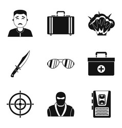 Culprit icons set simple style vector