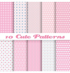 Cute different seamless patterns tiling pink color vector