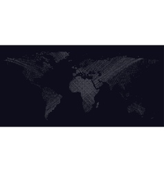 Dark background with white color dotted world map vector image vector image