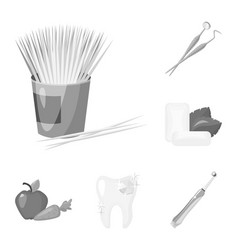 Dental care monochrome icons in set collection for vector
