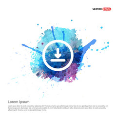 Download icon - watercolor background vector