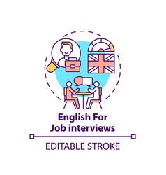 English for job interviews concept icon vector