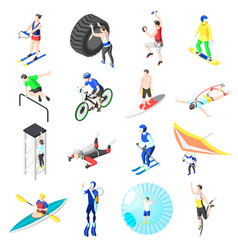 Extreme sports isometric icons vector