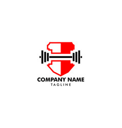 fitness sport body building logo icon template vector image