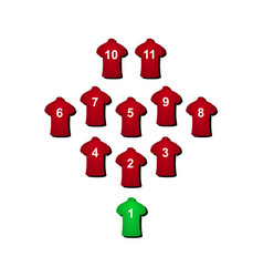 Football formation in red design vector