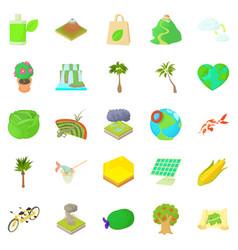 fowl icons set cartoon style vector image