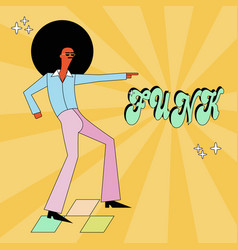 Funk and disco party dancer in cool cartoon style vector