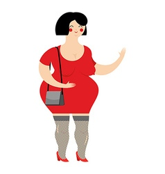 Funny fat prostitute in red dress slut with bag on vector