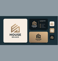 Gradient golden house logo for corporate company vector