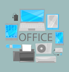 group computer office equipment vector image