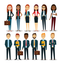 Group of businespeople with portfolio teamwork vector