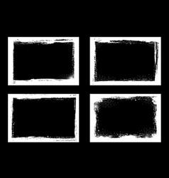 grunge frames and borders black white halftone vector image