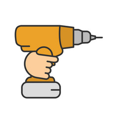 Hand holding cordless drill color icon vector