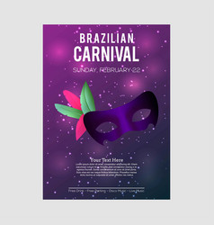 Happy brazilian carnival day purple carnival vector