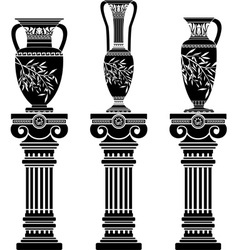 Hellenic jugs with ionic columns vector