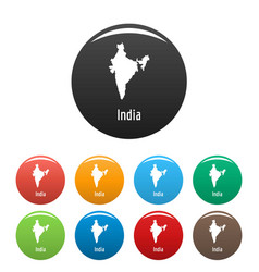 india map in black set simple vector image