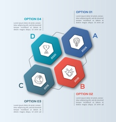 infographic template with hexagons 4 options vector image