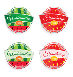 label of fruit watermelon and strawberry set vector image