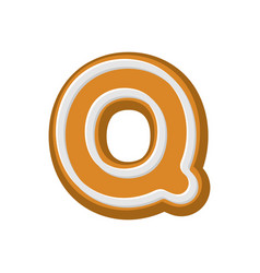 Letter q gingerbread peppermint honey-cake font vector